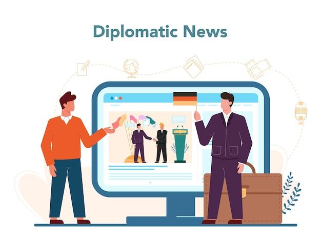 Serviço ou plataforma online de profissão de diplomata.