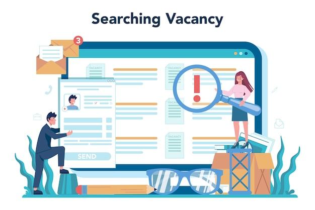Serviço ou plataforma online de recursos humanos. ideia de recrutamento e gestão de empregos.