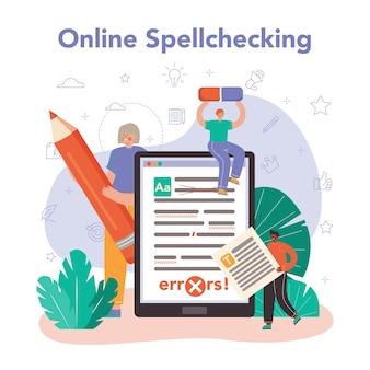 Serviço ou plataforma online de redator. escrevendo e projetando textos