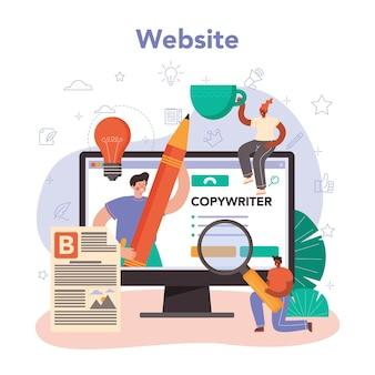 Serviço ou plataforma online de redator. local na rede internet. ilustração em vetor plana