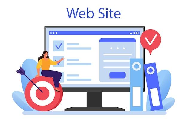 Serviço ou plataforma online de relações corporativas. local na rede internet. ilustração vetorial plana