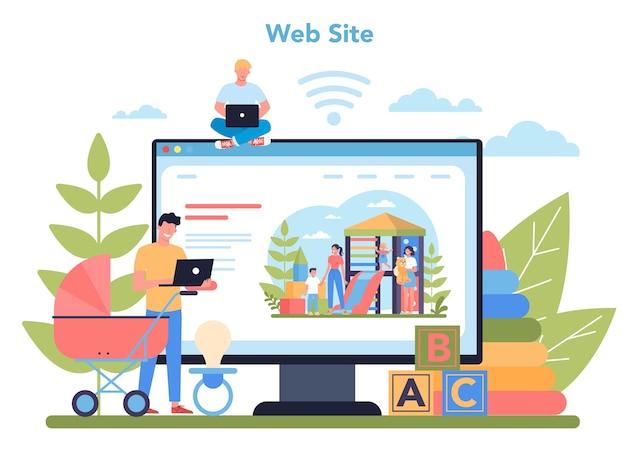 Serviço ou plataforma online de serviço de babá ou agência de babá. babá em casa. local na rede internet. ilustração vetorial isolada