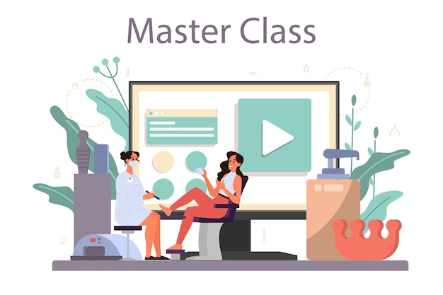Serviço ou plataforma online de serviço de manicure. trabalhador de salão de beleza. tratamento de unhas e. master class online.