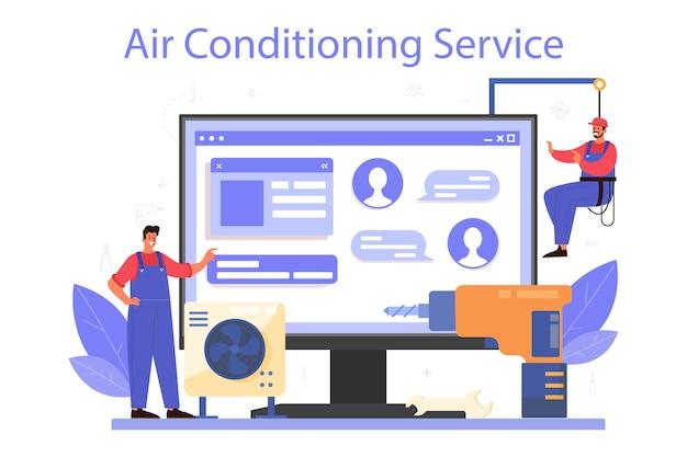 Serviço ou plataforma online de serviço de reparo e instalação de ar condicionado.