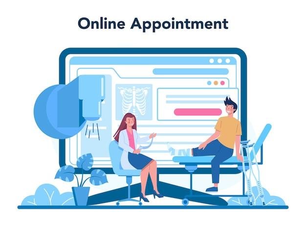 Serviço ou plataforma online de traumatologista.