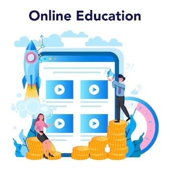 Serviço ou plataforma online do supervisor manager. especialista orientando os funcionários em suas tarefas. processo de trabalho de controle do gerente. educação online.