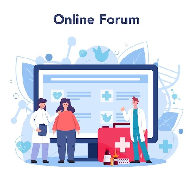 Serviço ou plataforma online médico. o terapeuta examina um paciente. especialista em saúde geral.