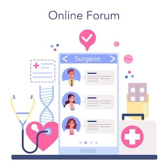 Serviço ou plataforma online médico. tratamento medicamentoso, especialização e diagnóstico.
