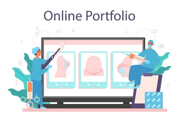 Serviço ou plataforma online para cirurgião plástico