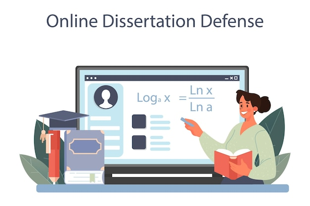 Serviço ou plataforma online para matemáticos. o matemático usa o padrão científico para formular novos cálculos. defesa de dissertação online. ilustração vetorial.