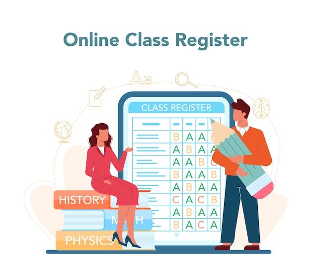 Serviço ou plataforma online para professores. professor planejando currículo, conhecendo pais.