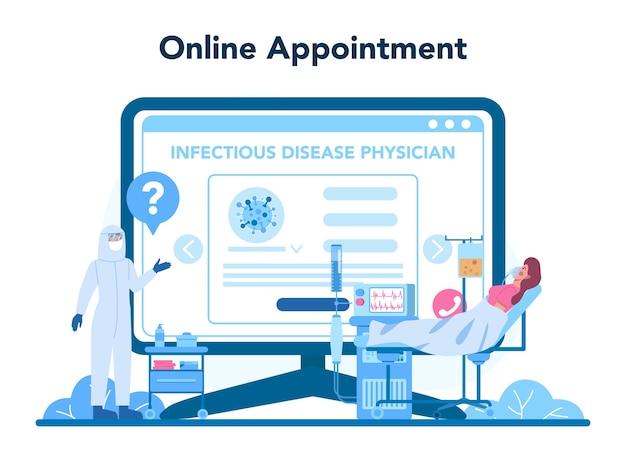 Serviço ou plataforma profissional online para infectistas