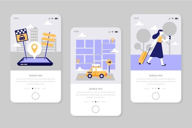 Serviço para telas de aplicativos de táxi