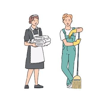Serviço pessoal empregada mulher e zelador homem de uniforme profissional. ilustração no estilo de arte linha isolado no branco