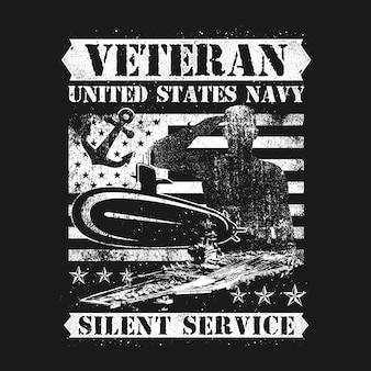 Serviço silencioso da marinha do veterano do americano do estilo da aflição