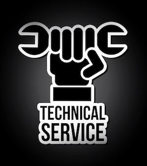 Serviço técnico sobre fundo preto