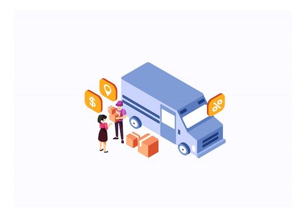 Serviços de caminhão de entrega isométrica