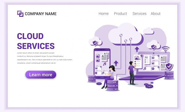 Serviços de computação em nuvem, datacenter, armazenamento em nuvem para o modelo de página de destino.