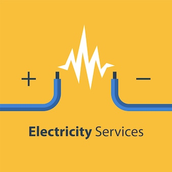 Serviços de conserto e manutenção de eletricidade, dois fios desencapados, ilustração