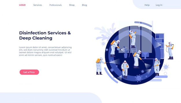 Serviços de desinfecção e conceito de limpeza profunda. pandemia do coronavírus. grupo de zeladores em limpeza uniforme e descontaminação para conter a infecção. modelo de design de página da web. ilustração