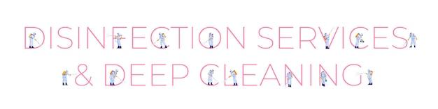 Serviços de desinfecção e limpeza profunda. epidemia de controle de prevenção do coronavírus covid-2019. projeto de ilustração de estilo dos desenhos animados Vetor Premium