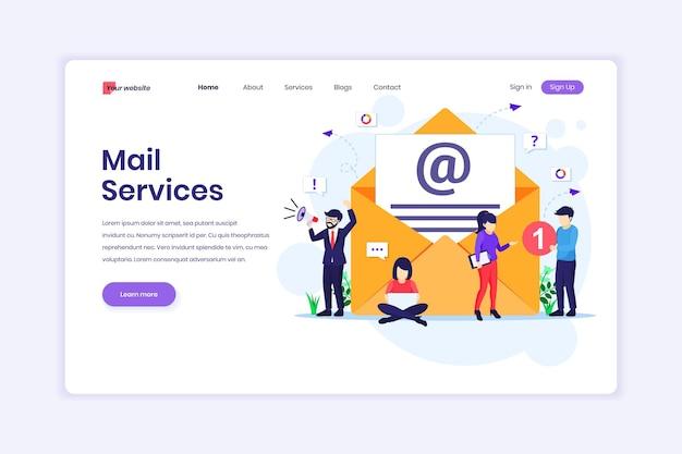 Serviços de email marketing campanha publicitária promoção digital com ilustração de personagens