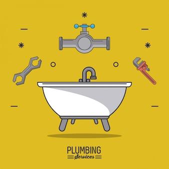 Serviços de encanamento com banheira e ícones de encanamento no topo