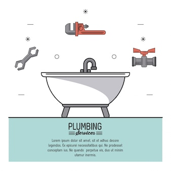 Serviços de encanamento com banheira em closeup e ícones de ferramentas de encanamento