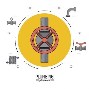 Serviços de encanamento com círculo com torneiras e ícones de encanamento