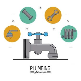 Serviços de encanamento com faucet em closeup e ícones de encanamento no topo