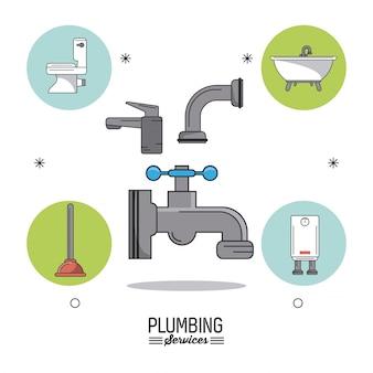 Serviços de encanamento com torneiras e ícones de banheiro de encanamento