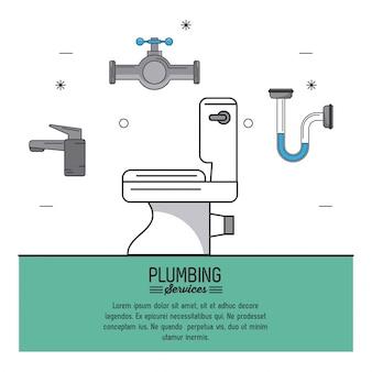 Serviços de encanamento com vaso sanitário em closeup e ícones de encanamento