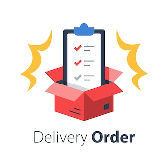 Serviços de entrega, apólice de seguro, termos e condições, prancheta e caixa aberta, lista de verificação de remessa, distribuição de pacotes, ilustração plana