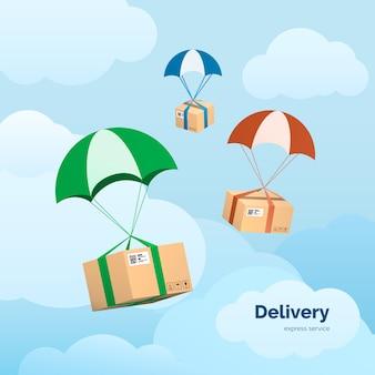 Serviços de entrega e comércio. pacotes voando de para-quedas. elementos isolados no fundo do céu