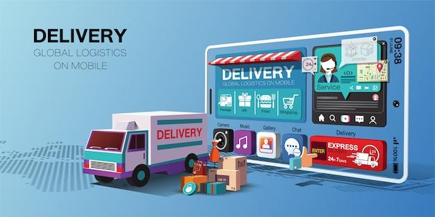 Serviços de entrega global para compras on-line em aplicativos móveis por caminhão
