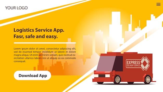 Serviços de entrega mobile app com carro vermelho em quadrinhos.