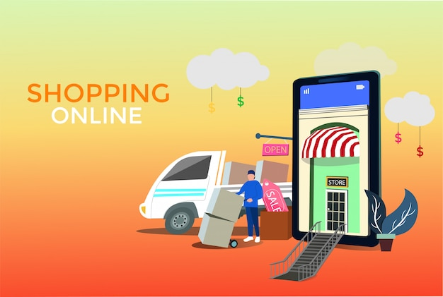 Serviços de entrega on-line de conceito
