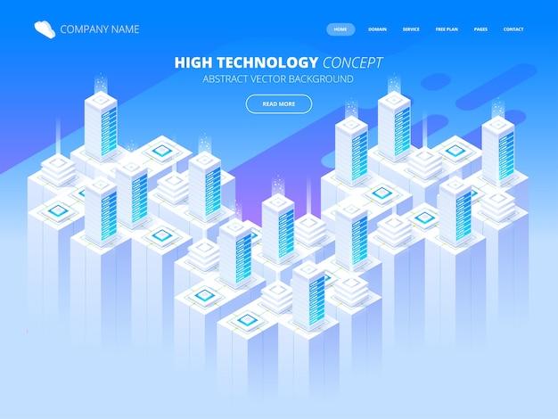 Serviços de hospedagem, data center, sala de servidores, template de página sobre o tema tecnologias da informação. ilustração isométrica