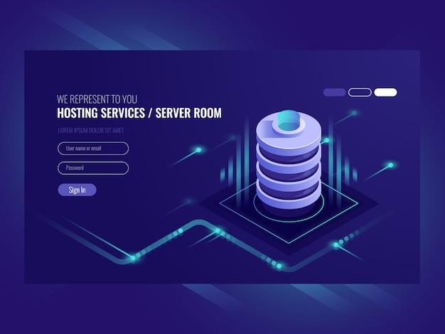 Serviços de hospedagem, data center, sala do servidor do servidor