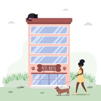Serviços de hospitais veterinários e hotéis para animais domésticos