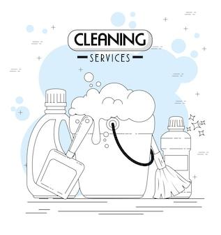 Serviços de limpeza emblemas e logotipos