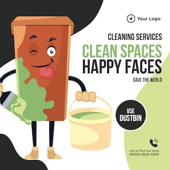Serviços de limpeza, espaços limpos, carinhas felizes, design de banner