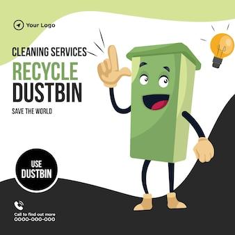 Serviços de limpeza reciclam design de banner de lixeira