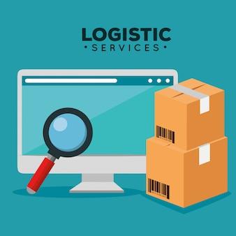 Serviços de logística com computador