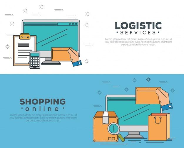 Serviços de logística com conjunto de banner de computador