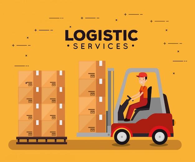 Serviços de logística com empilhadeira e trabalhador