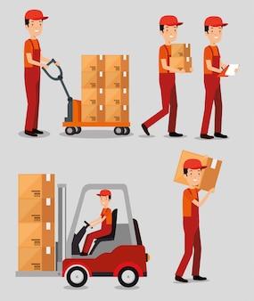 Serviços de logística com trabalhadores de entrega em equipe