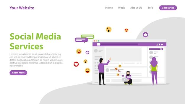 Serviços de mídia social da página de destino