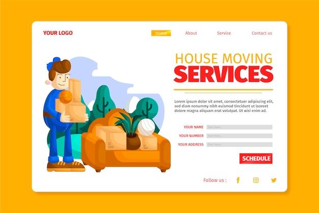 Serviços de mudança de casa - página de destino Vetor grátis