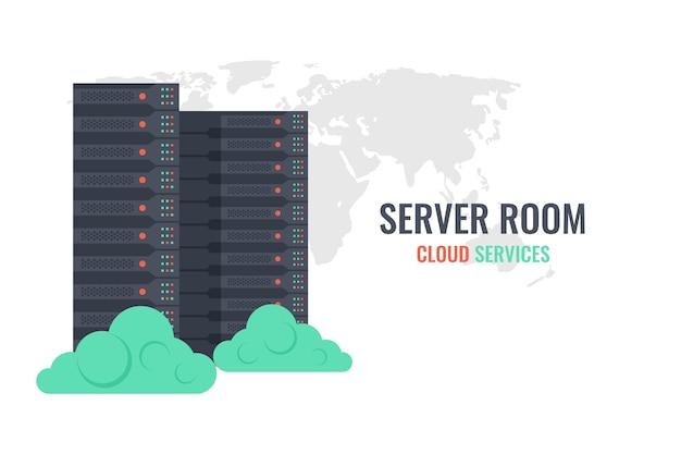 Serviços de nuvem, rack de servidor no fundo de mapa do mundo com nuvens